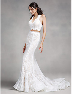 LAN TING BRIDE Trumpet / Mermaid Wedding Dress Two-in-One Court Train V-neck Lace with Lace