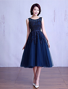 Tea-length Lace / Tulle Bridesmaid Dress - Ball Gown Jewel with Beading / Lace / Sash / Ribbon
