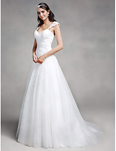 LAN TING BRIDE Fit & Flare Wedding Dress Simply Sublime Court Train Sweetheart Lace Tulle with Appliques Criss-Cross