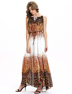 Women's Casual/Daily Simple A Line / Chiffon Dress,Print Round Neck Maxi Sleeveless Brown Polyester / Others All Seasons