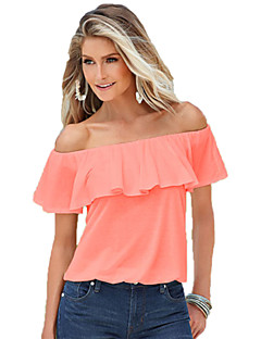 여성의 솔리드 보트넥 짧은 소매 티셔츠,섹시 캐쥬얼/데일리 핑크 / 화이트 면 여름 얇음
