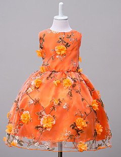 Girl's Going out Floral Dress,Polyester Summer Orange / Pink