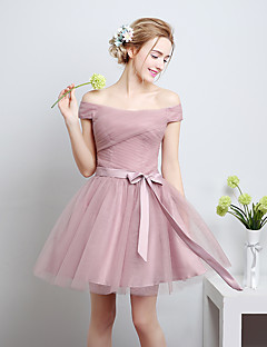 Knee-length Satin / Tulle Bridesmaid Dress - A-line Off-the-shoulder with Bow(s)