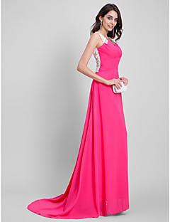 포멀 이브닝 드레스 - 아름다운 뒤태 A-라인 스윗하트 바닥 길이 쉬폰 와 자수장식