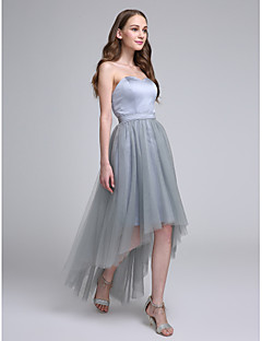 Lanting Bride® Asymmetrical Satin / Tulle Bridesmaid Dress A-line Sweetheart with Sash / Ribbon