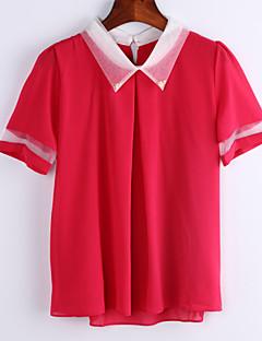 De las mujeres Simple Formal / Tallas Grandes Verano Blusa,Cuello Camisero Retazos Manga Corta Azul / Rosa / Rojo / Verde Fino