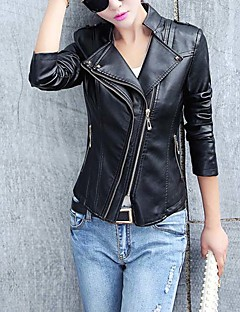 Women's Casual/Daily Street chic Spring / Fall Leather Jackets,Solid Stand Long Sleeve Red / Black PU Medium