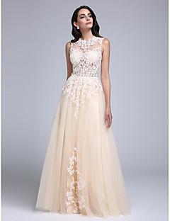 2017 ts couture® vestido de noche formal de una línea de joyas palabra de longitud tul con apliques