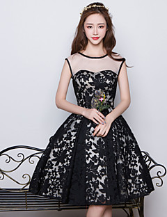 Knee-length Satin / Tulle / Flocking Bridesmaid Dress Ball Gown Jewel with Pattern / Print