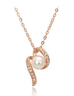 男性用 女性 ペンダントネックレス パールネックレス クリスタル 真珠 クリスタル 人造真珠 キュービックジルコニア 合金 ファッション 愛らしいです ジュエリー 用途 結婚式 パーティー 日常 カジュアル