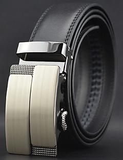 Men Black Automatic Buckle Genuine Leather Wide Belt Business Waist Strap,Work / Casual