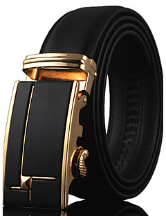 Men Business Automatic Buckle Black Leather Wide Belt,Work / Casual