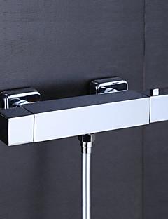 現代風 / 近代の バスタブとシャワー サーモスタットタイプ with  セラミックバルブ シングルハンドル二つの穴 for  クロム , シャワー水栓 / 浴槽用水栓
