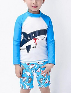 Boy's Beach Print Swimwear,Nylon Summer Blue