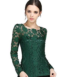 Mulheres Camiseta Happy-Hour Plus Sizes / Moda de Rua Primavera,Patchwork Azul / Vermelho / Branco / Bege / Preto / Verde PoliésterDecote