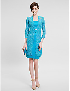 Lanting Bride Sheath / Column Mother of the Bride Dress Knee-length Long Sleeve Lace / Satin with Lace