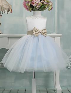 נשף באורך  הברך שמלה לנערת הפרחים - טול ללא שרוולים עם תכשיטים עם פפיון(ים)