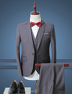 Erkeklerin Sade İş / Resmi Polyester Uzun Kollu Set Siyah / Beyaz / Gri
