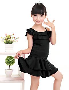 Dança Latina Roupa Crianças Actuação Fibra de Leite Amarrotado 2 Peças Manga Curta Natural Top / Saia100:49cm, 110:51cm, 120:53cm,