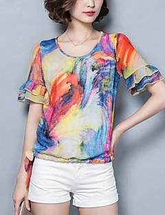 여성의 프린트 라운드 넥 짧은 소매 블라우스,빈티지 / 보호 캐쥬얼/데일리 레드 / 퍼플 폴리에스테르 여름 얇음
