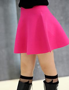 שמלה יום יומי\קז'ואל אחיד צמר חורף / אביב / סתיו שחור / אדום הילדה של
