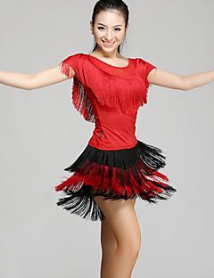 Tenue(Noire Rouge,Chinlon,Danse latine)Danse latine- pourFemme Frange (s) Spectacle Danse latine Taille moyenne