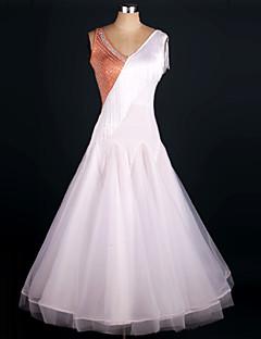 ボールルームダンス セット 女性用 演出 弾性シルク オーガンザ ルーズブーツ 1個 ノースリーブ ナチュラルウエスト ドレス