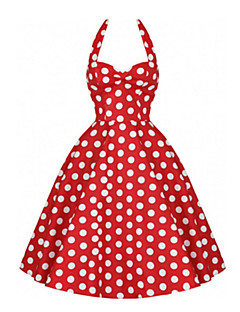 Women's Party/Cocktail Vintage / Cute Plus Size / A Line / Skater Dress,Polka Dot Halter Above Knee Sleeveless Blue / Red / Black