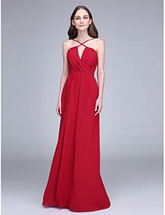 LAN TING BRIDE Floor-length Spaghetti Straps Bridesmaid Dress - Open Back Sleeveless Chiffon