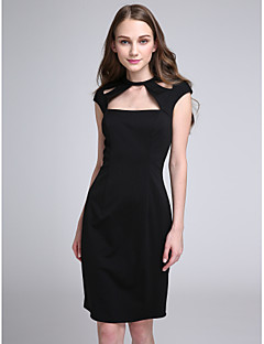 Lanting Bride® Knee-length Jersey Bridesmaid Dress Sheath / Column Jewel with