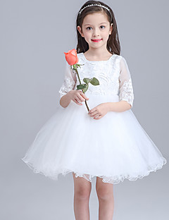 Ball Gown Knee-length Flower Girl Dress - Lace / Organza Half Sleeve Jewel with Bow(s) / Lace