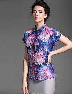 Baoyan® Dame Krave Kort Ærme Shirt & bluse Rød-150275