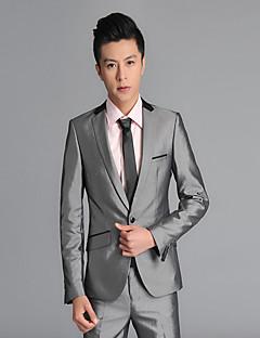 חליפות גזרה רגילה פתוח Single Breasted One-button צמר חלק שני חלקים אפור דש ישר ללא (חלק קדמי שטוח) אפור ללא (חלק קדמי שטוח) כפתורים