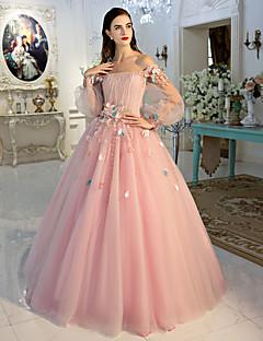 Serata formale Vestito Da ballo Drappeggiata Lungo Di pizzo / Tulle con Fiore (i) / Di pizzo / Drappeggio di lato