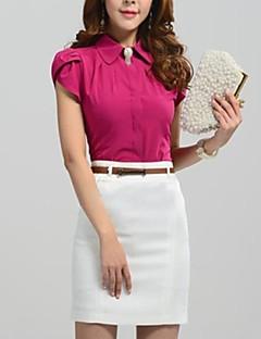 De las mujeres Simple Formal Primavera / Verano / Otoño Camisa,Cuello Camisero Un Color Manga Corta Algodón Rojo / Blanco / Multicolor