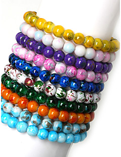 Beadia 1Pc 8mm Glass Bead Strand Bracelets(10 Colors)