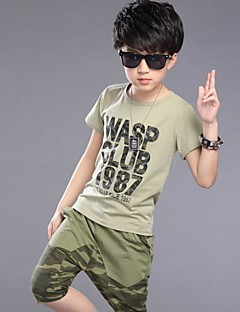 Boy's Casual/Daily Print Clothing Set,Cotton Summer Green
