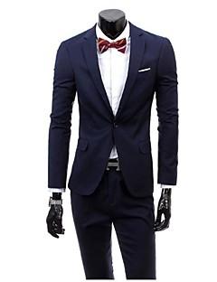 חליפות גזרה צרה פתוח Single Breasted One-button ויסקוזה חלק שני חלקים שחור / סגול / אפור כהה / בורדו / כחול ים / כחול נייבי דש ישרללא