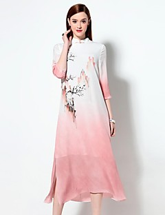 Boutique S Women's Going out Sophisticated Loose Dress,Print Stand Midi ¾ Sleeve Blue / Pink Rayon Spring / Summer