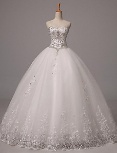 Ball Gown Wedding Dress Sparkle & Shine Floor-length Sweetheart Tulle with Appliques Beading