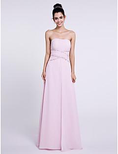 Lanting Bride® Longueur Sol Mousseline de soie Robe de Demoiselle d'Honneur  Fourreau / Colonne Sans Bretelles avec Billes
