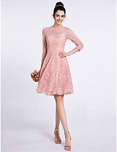 Knee-length Lace Bridesmaid Dress A-line Jewel with Lace