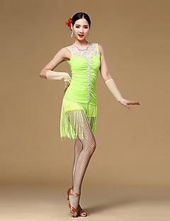 Latin Dance Dresses Women's Performance Viscose Crystals/Rhinestones / Pleated / Tassel(s) 3 Pieces