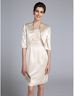 Lanting Bride® Sheath / Column Mother of the Bride Dress Knee-length Half Sleeve Satin with Appliques / Lace