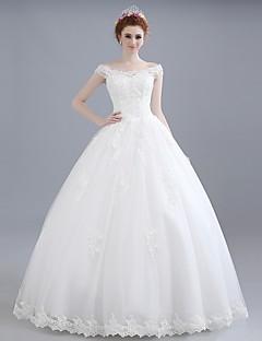 볼 드레스 웨딩 드레스 바닥 길이 오프 더 숄더 레이스 / 새틴 / 튤 와 레이스