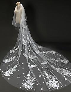 Свадебные вуали Два слоя Фата для венчания Обрезанная кромка Тюль / Кружево Цвет слоновой кости