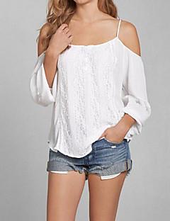 Polyester Hvit Medium Langermet,Med stropper T-skjorte Ensfarget Sommer Sexy / Enkel Fritid/hverdag Kvinner