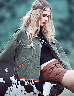 Aporia.As® Damen Rundhalsausschnitt Lange Ärmel Shirt & Bluse Grün / Braun-MZ06047