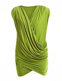 Women's Work Bodycon Dress,Solid Deep V Above Knee Sleeveless Black / Gray / Green Cotton All Seasons