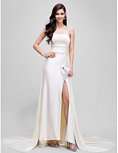 Formal Evening Dress - Celebrity Style Sheath / Column Straps Court Train Jersey with Split Front